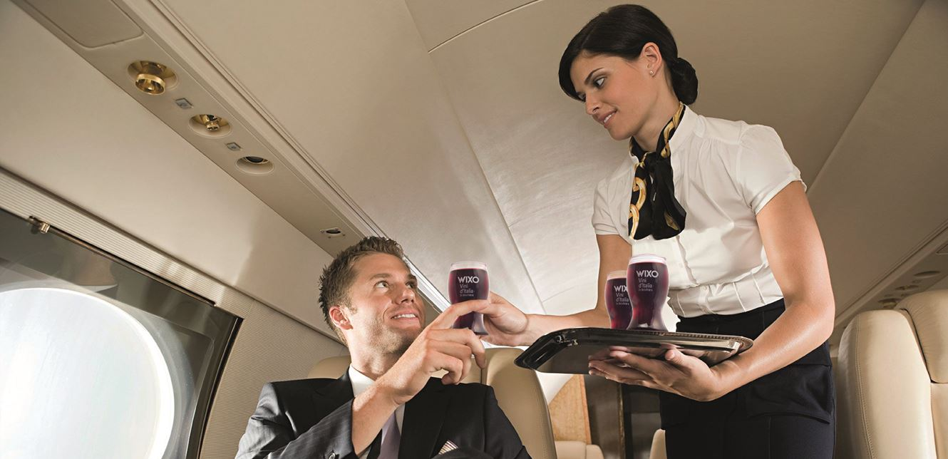 Single-serve wine for airplanes